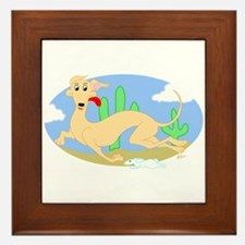 Running Greyhound Desert Framed Tile