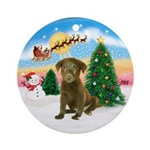 TakeOff1W/ Chocolate Labrador Pup Ornament (Round)