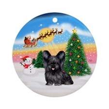 TakeOff1W/ Black Skye Terrier Ornament (Round)