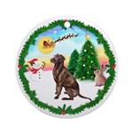 TakeOff1W/ Chocolate Labrador Ornament (Round)