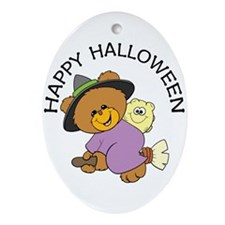 Halloween Bear Witch Oval Ornament