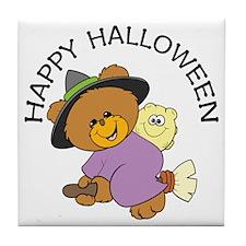 Halloween Bear Witch Tile Coaster