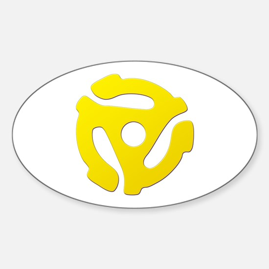 Yellow 45 RPM Adapter Oval Decal
