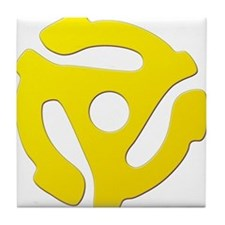 Yellow 45 RPM Adapter Tile Coaster