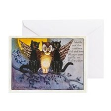 Halloween Wise Cats and Owl Greeting Cards (Pk of