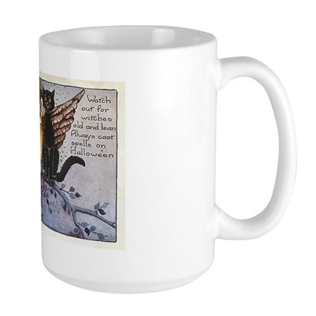 Halloween Wise Cats and Owl Large Mug