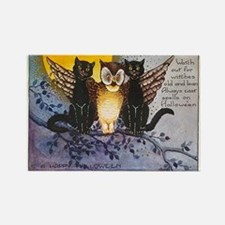 Halloween Wise Cats and Owl Rectangle Magnet