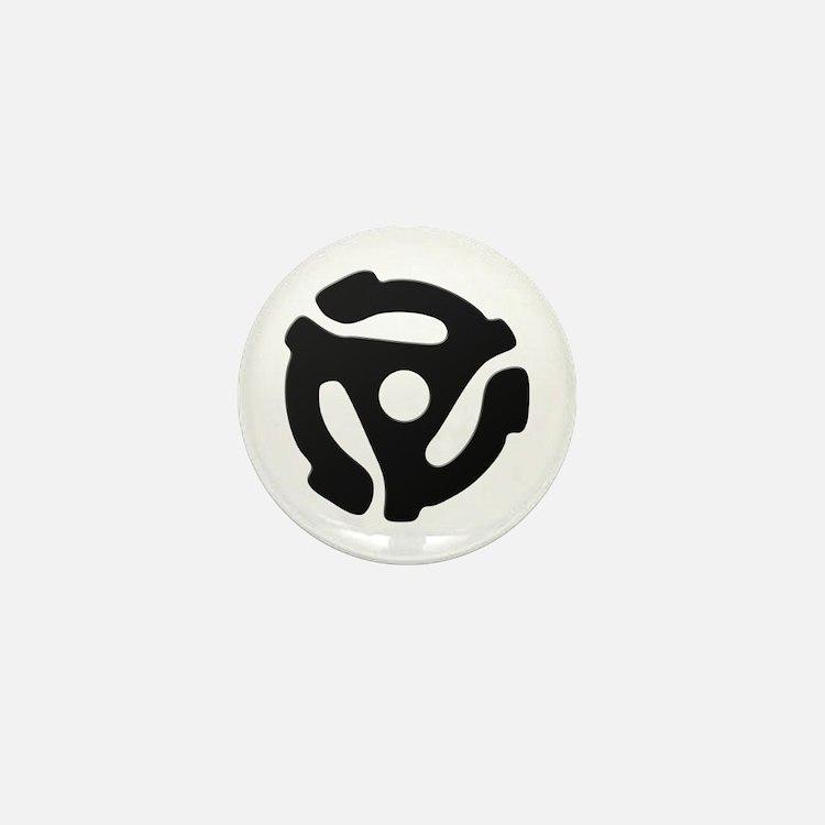 Black 45 RPM Adapter Mini Button