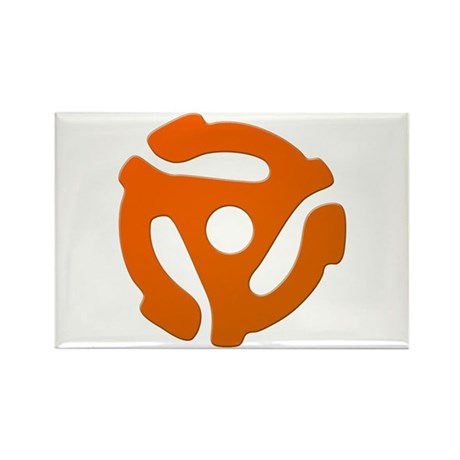Orange 45 RPM Adapter Rectangle Magnet (10 pack)