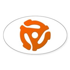 Orange 45 RPM Adapter Oval Decal