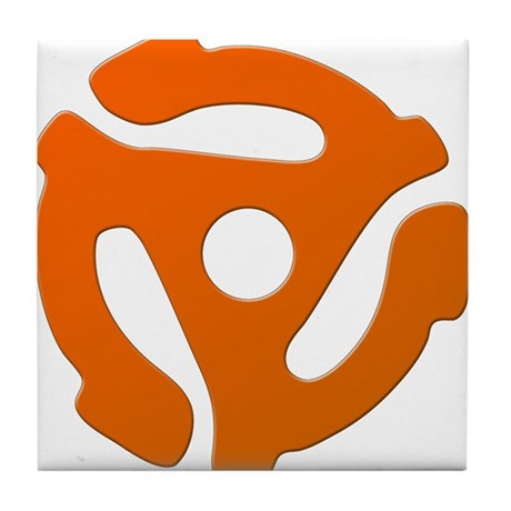 Orange 45 RPM Adapter Tile Coaster