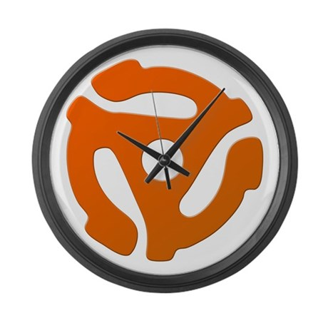 Orange 45 RPM Adapter Large Wall Clock