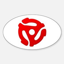 Red 45 RPM Adapter Oval Decal