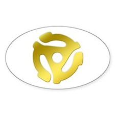 Gold 45 RPM Adapter Oval Decal