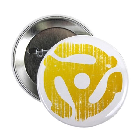 "Distressed Yellow 45 RPM Adapter 2.25"" Button"