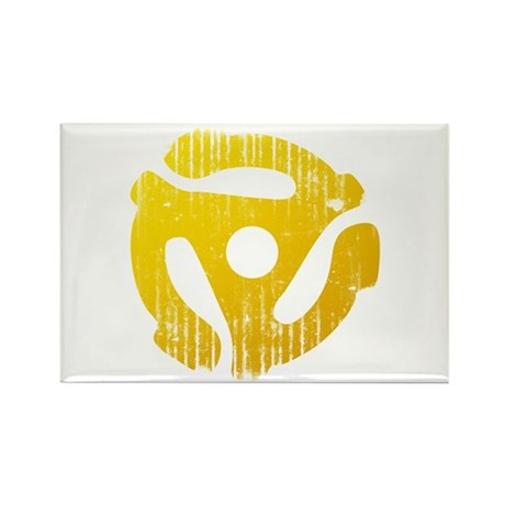 Distressed Yellow 45 RPM Adapter Rectangle Magnet