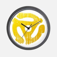 Distressed Yellow 45 RPM Adapter Wall Clock