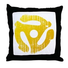 Distressed Yellow 45 RPM Adapter Throw Pillow