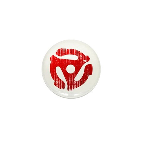 Distressed Red 45 RPM Adapter Mini Button (100 pac