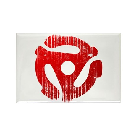 Distressed Red 45 RPM Adapter Rectangle Magnet