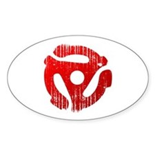 Distressed Red 45 RPM Adapter Oval Decal