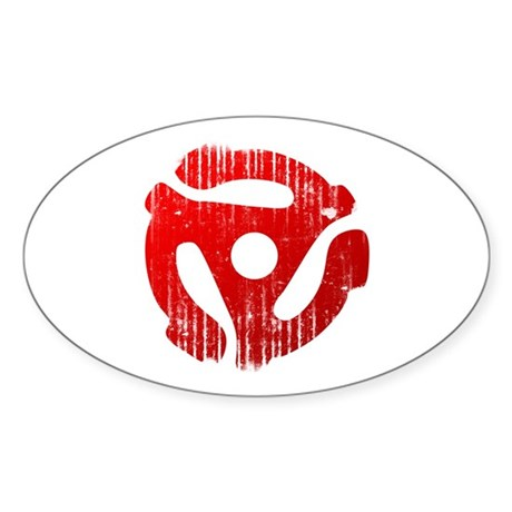Distressed Red 45 RPM Adapter Oval Sticker