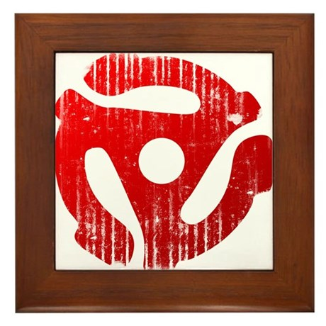 Distressed Red 45 RPM Adapter Framed Tile