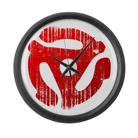 Distressed Red 45 RPM Adapter Large Wall Clock