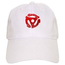 Distressed Red 45 RPM Adapter Baseball Cap