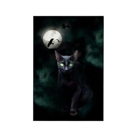 Cat under Full Moon Rectangle Magnet