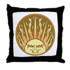 Flaming Sun Throw Pillow