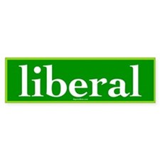 Green Liberal Bumper Car Sticker