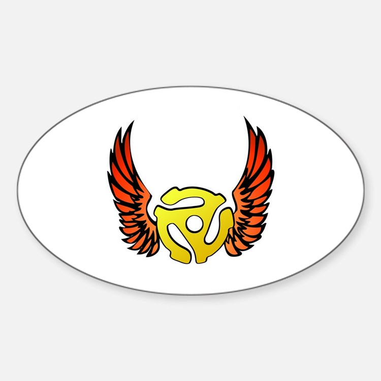 Red Winged 45 RPM Adapter Oval Decal