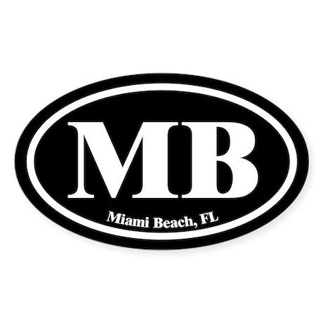 Miami Beach MB Euro Oval Oval Sticker