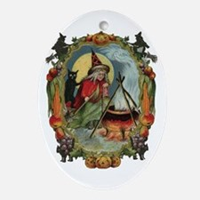 Vintage Witch Oval Ornament