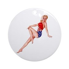 Patriotic Pin Up Girl Ornament (Round)