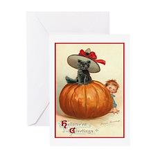 Halloween Pumpkin Surprise Cat Greeting Card