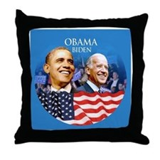Obama-Biden Flag Blue Back Throw Pillow