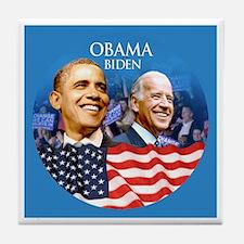 Obama-Biden Flag Blue Back Tile Coaster