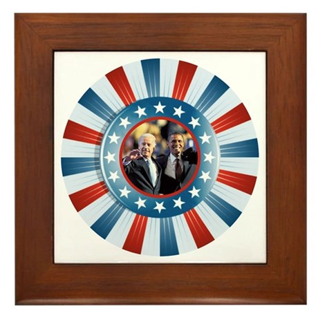 Obama-Biden Star Bunting Framed Tile