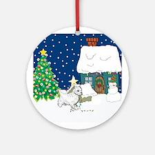 Christmas Lights Westie Ornament (Round)