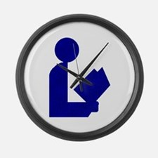 Blue Tinfoil Library Logo Large Wall Clock