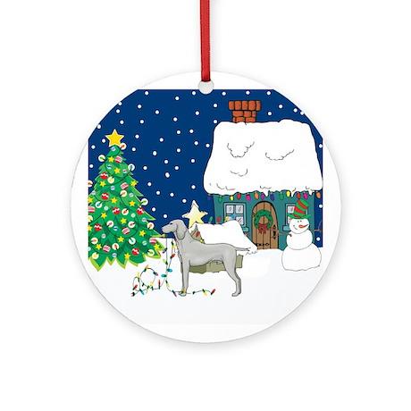 Christmas Lights Weimaraner Ornament (Round)