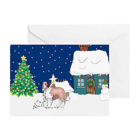 Christmas Lights St Bernard Greeting Cards (Pk of