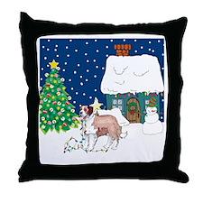 Christmas Lights St Bernard Throw Pillow
