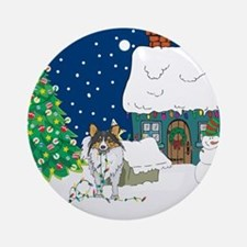 Christmas Lights Sheltie Ornament (Round)