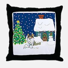 Christmas Lights Sheltie Throw Pillow