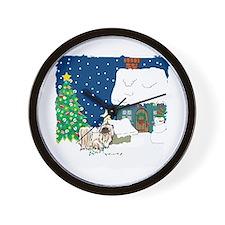 Christmas Lights Pekingese Wall Clock
