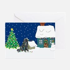 Christmas Lights Newfie Greeting Cards (Pk of 20)