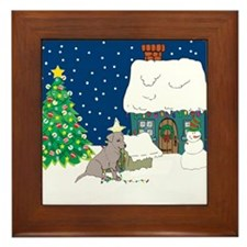 Christmas Lights Black Lab Framed Tile